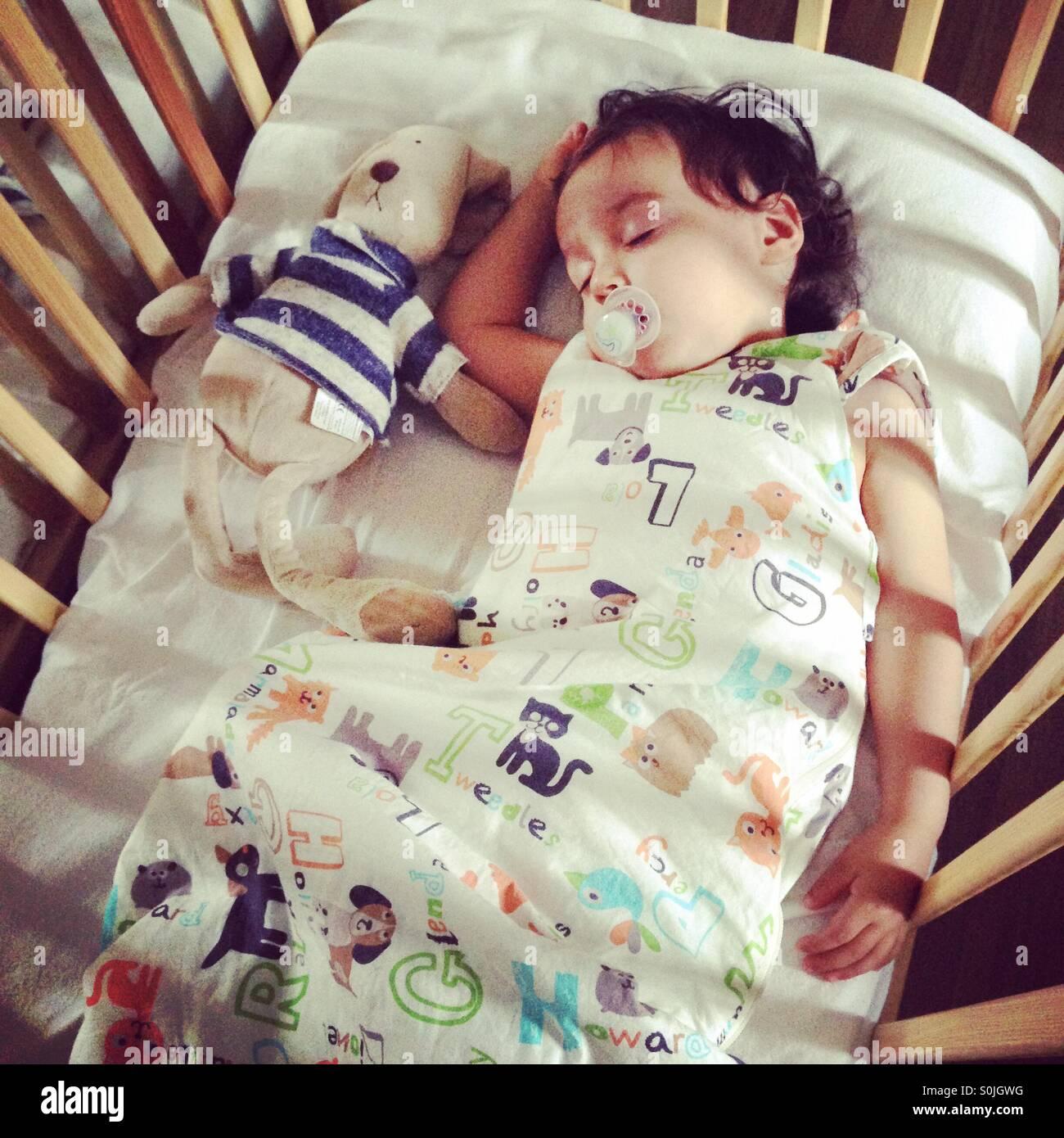 Kleinkind schlafen im Kinderbett mit Kuscheltier Stockbild