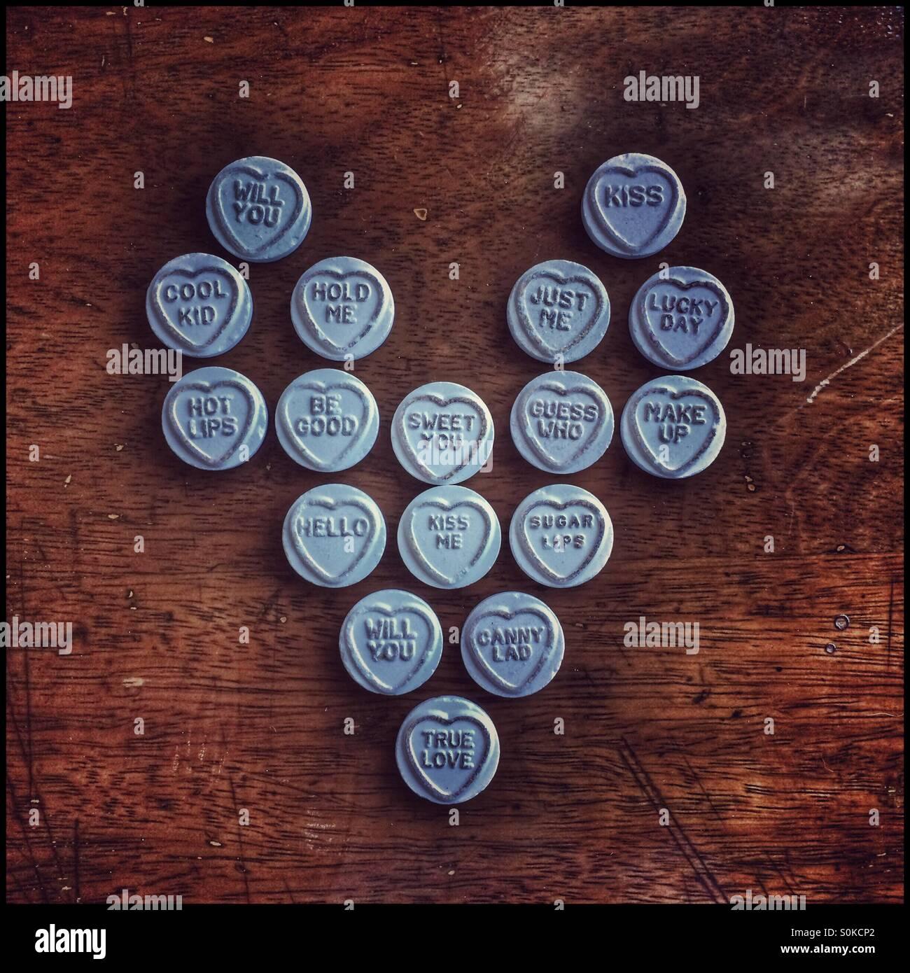 Liebesherz, Liebe Herzen Bonbons gemacht. Stockbild