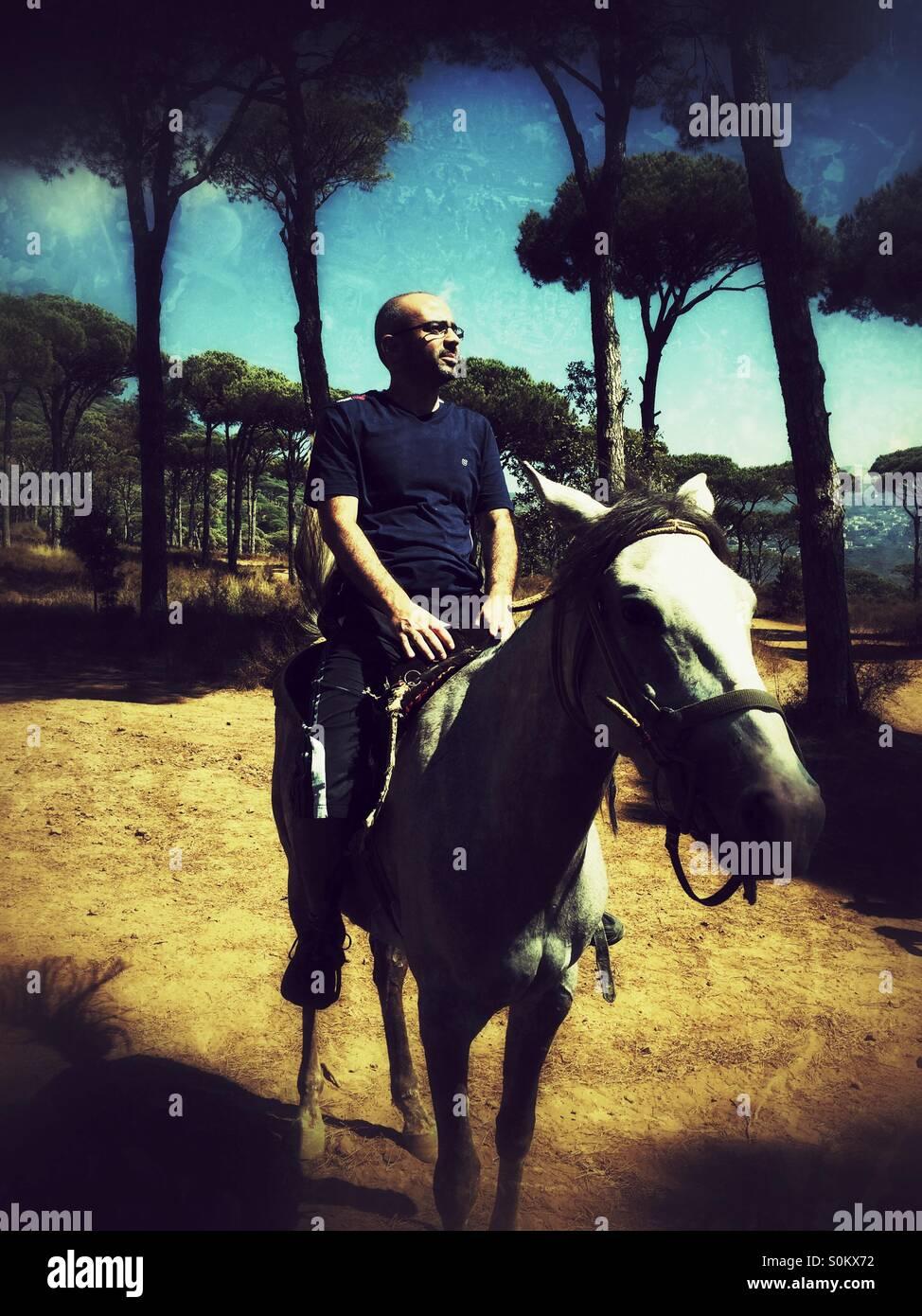 Mittleren Alter Mann auf einem Pferd im Wald Stockbild