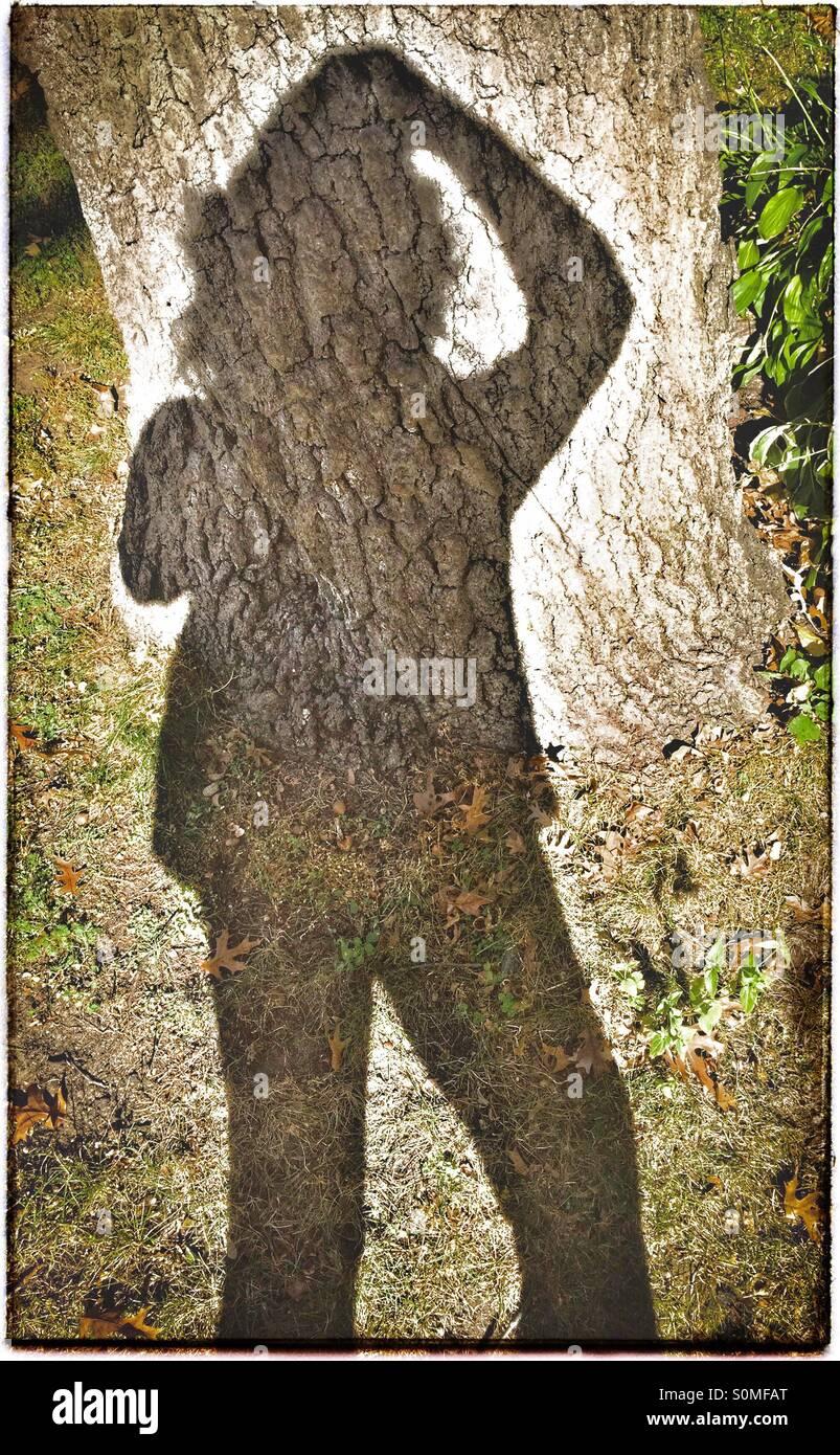 Schatten-Selfie hält Haar wieder an einem windigen Herbsttag Stockbild
