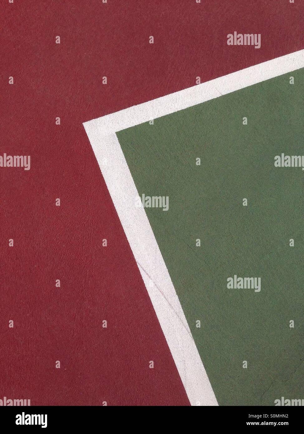 Abstrakte Linien auf einem Tennisplatz Stockbild