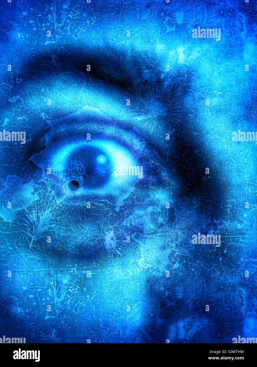 Nahaufnahme von einem Mann mit blauen Teint und grunge Effekt, Angst Konzept. Stockbild