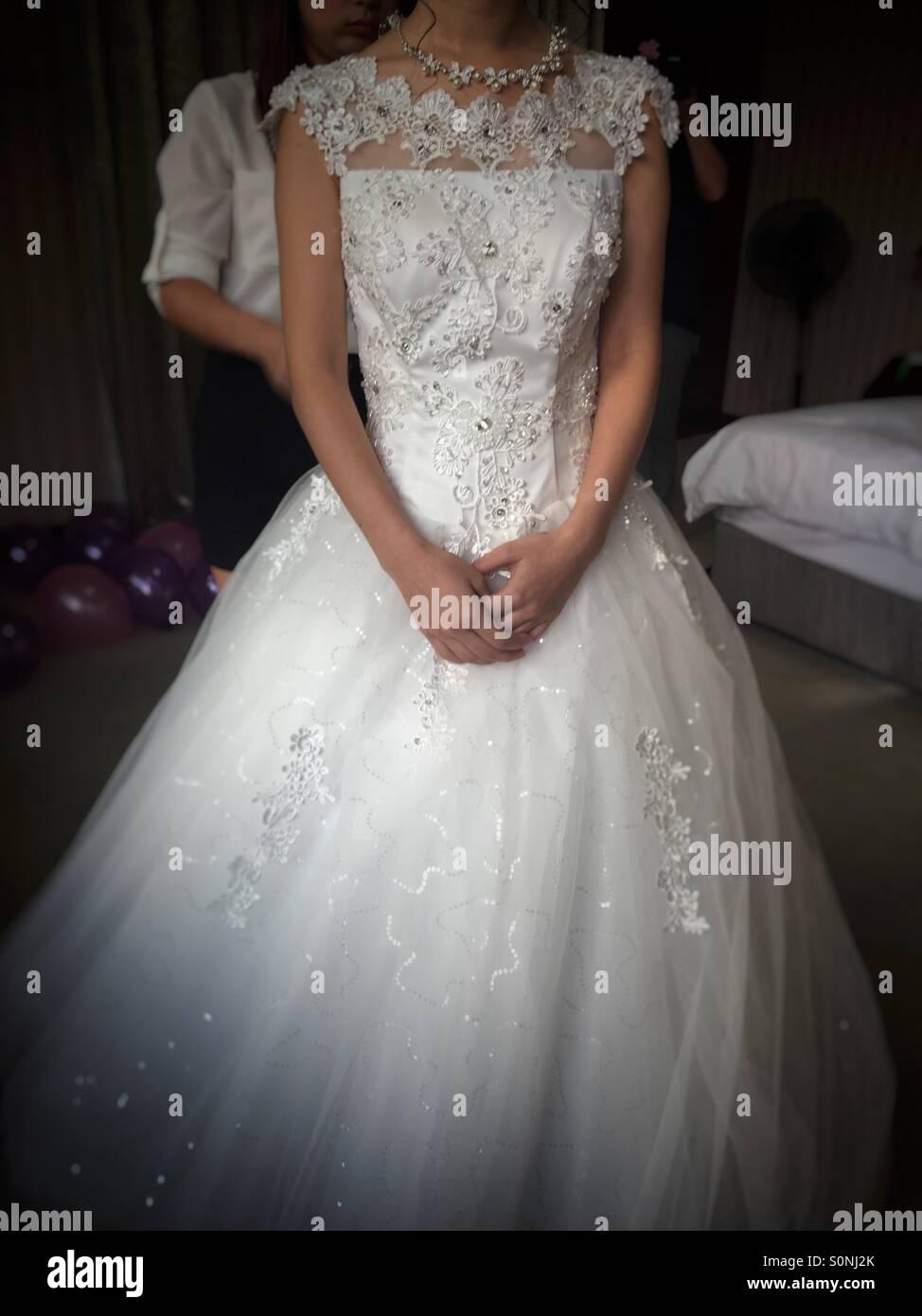Vorbereitung für ihre Hochzeit Braut Stockbild