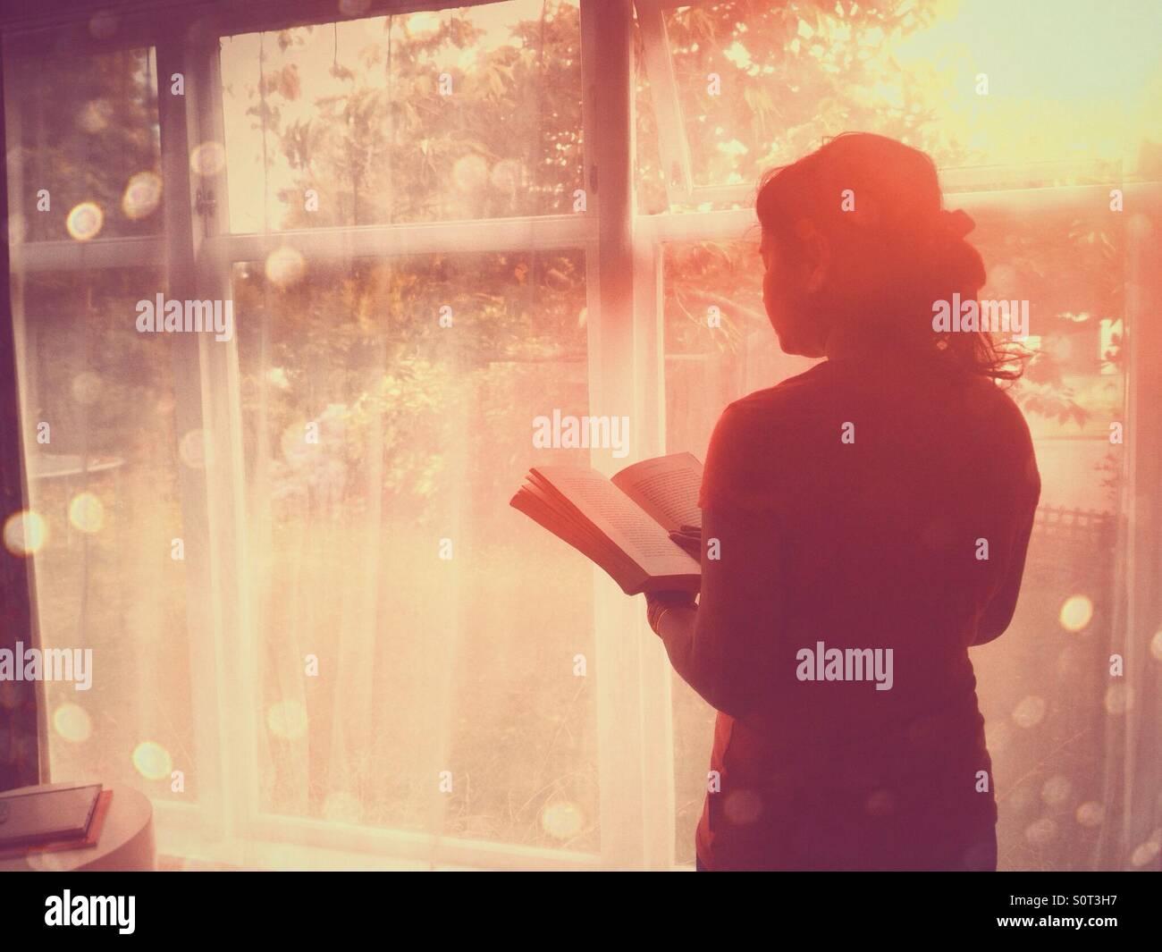 Frau Lesebuch durch Fenster Stockbild