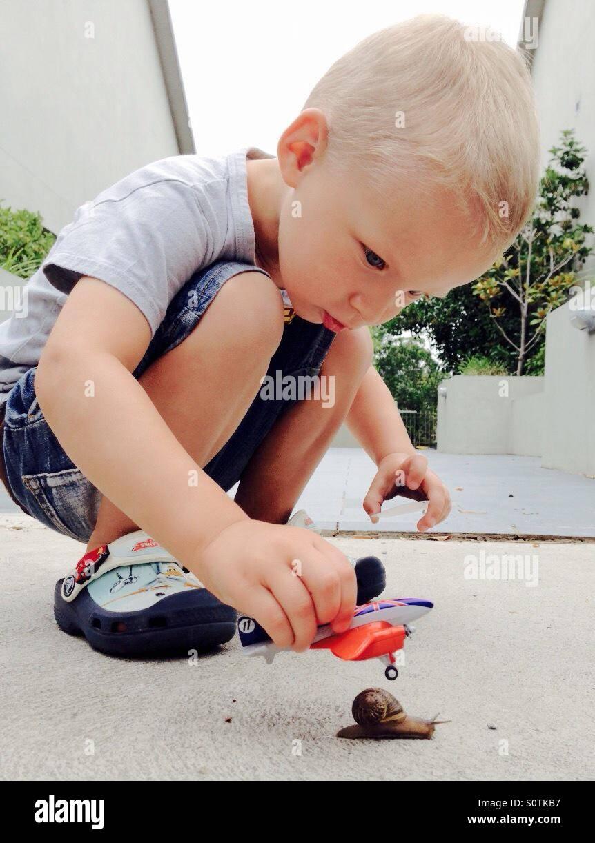 Kleiner junge spielt mit spielzeug stockfoto bild