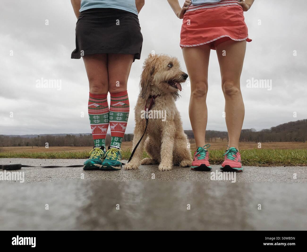 Zwei Läufer Mädchen und einem flauschigen mutt Stockbild