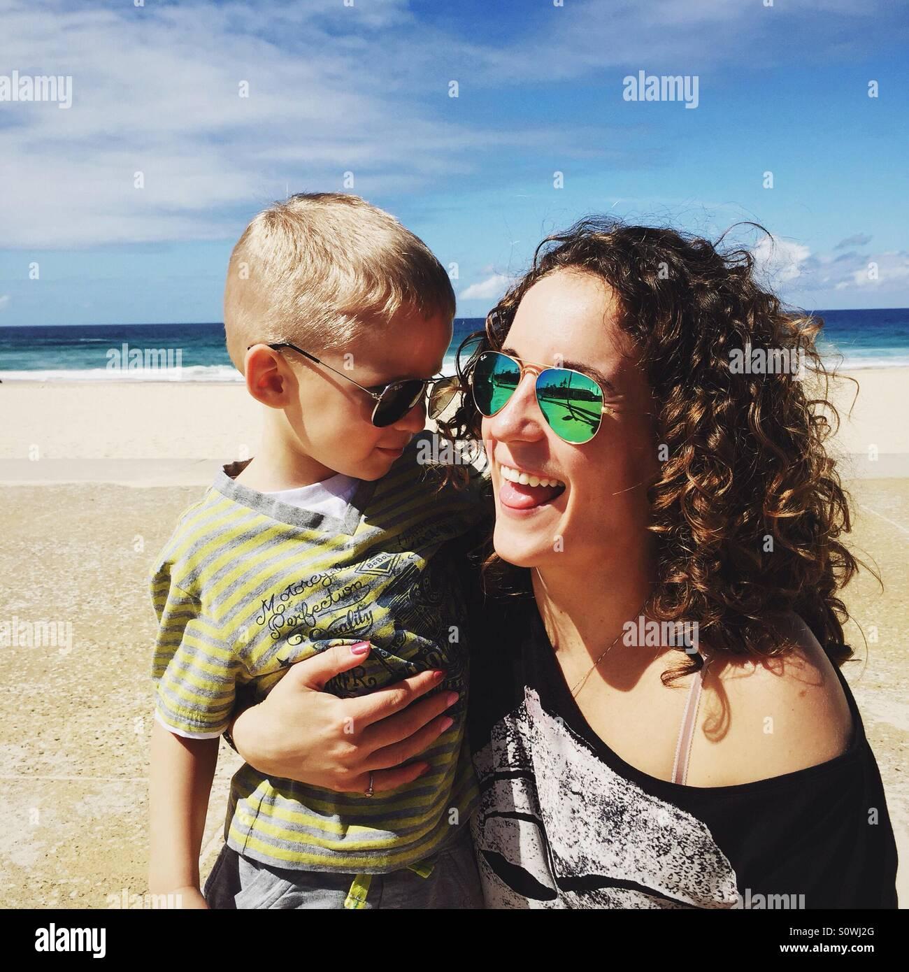 Mutter mit einem Kind Stockbild