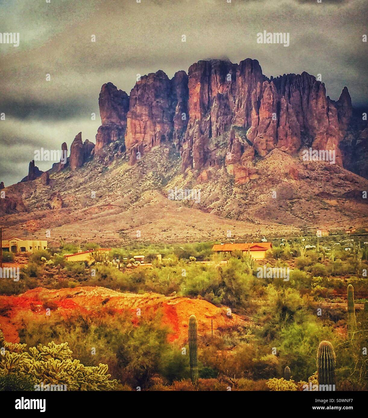 Superstition Mountains Stockbild