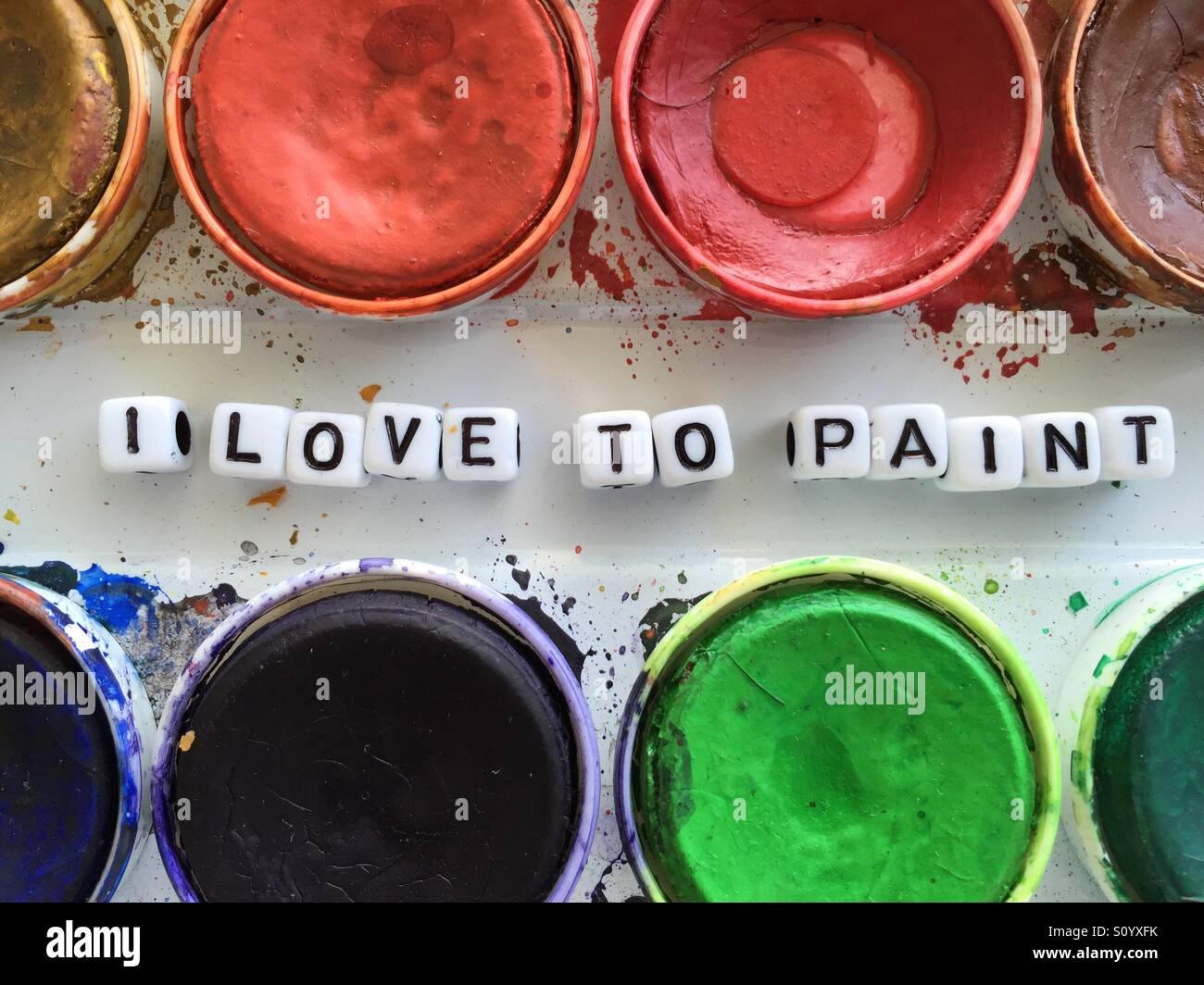 Ich liebe es zu malen Stockbild