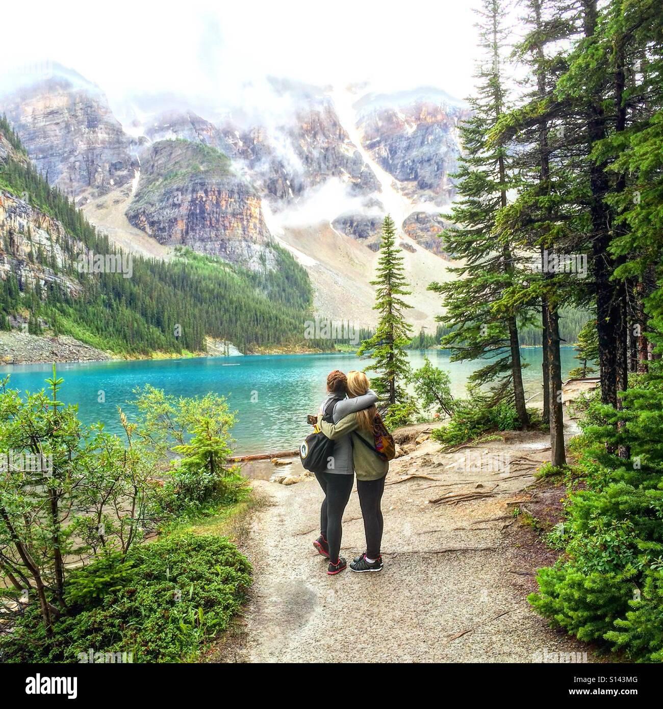 Moraine Lake, Banff Nationalpark, Alberta, Kanada Stockbild