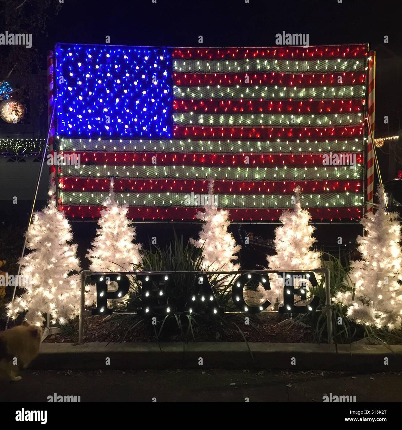 Amerikanische Weihnachtsbeleuchtung.Die Usa Wollen Truppen Militärs Marines Armee Und Luftwaffe Schöne