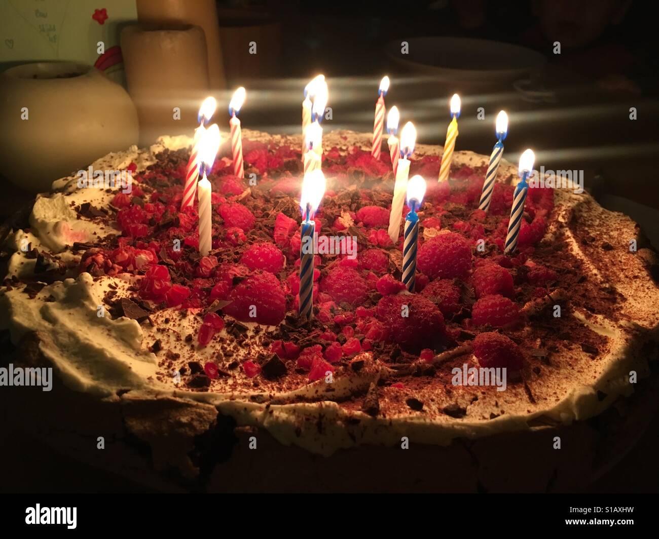 14 Kerzen Auf Einem Geburtstagskuchen Stockbild