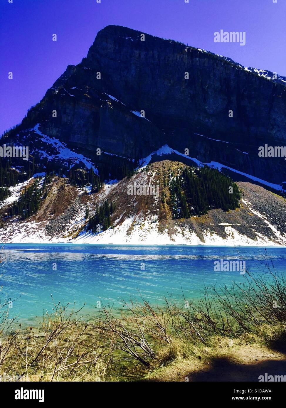 Lake Louise, Jasper-Nationalpark. Stockbild