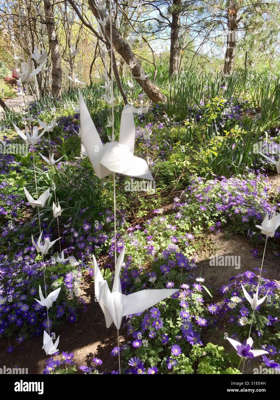 Papier-Kran-Garten Stockbild