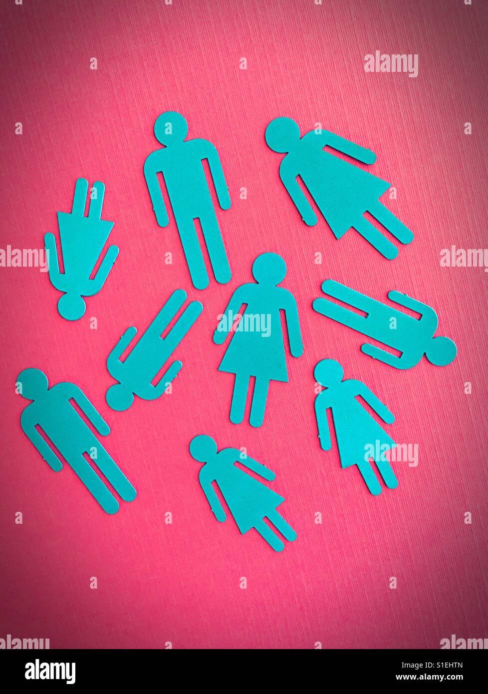 Ausschnitt-Silhouetten von männlichen und weiblichen gestalten. Stockbild