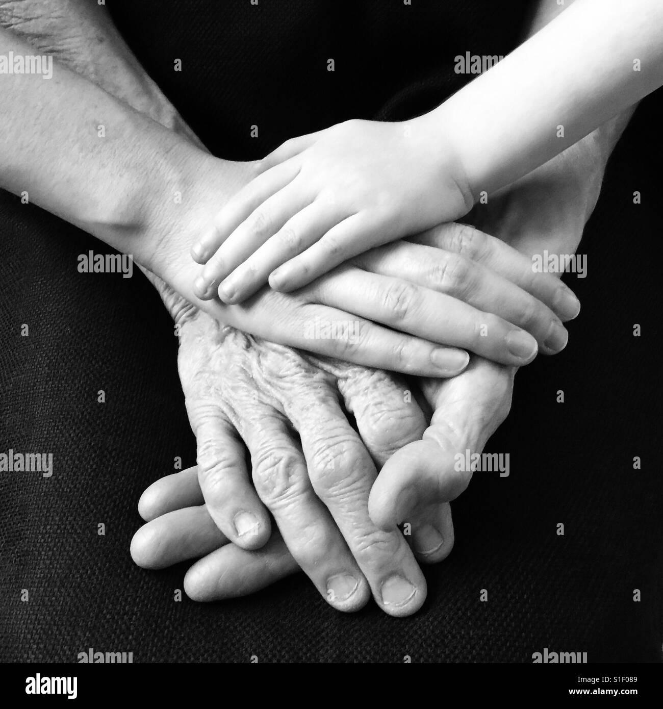 Liebe über drei Generationen hinweg Stockbild