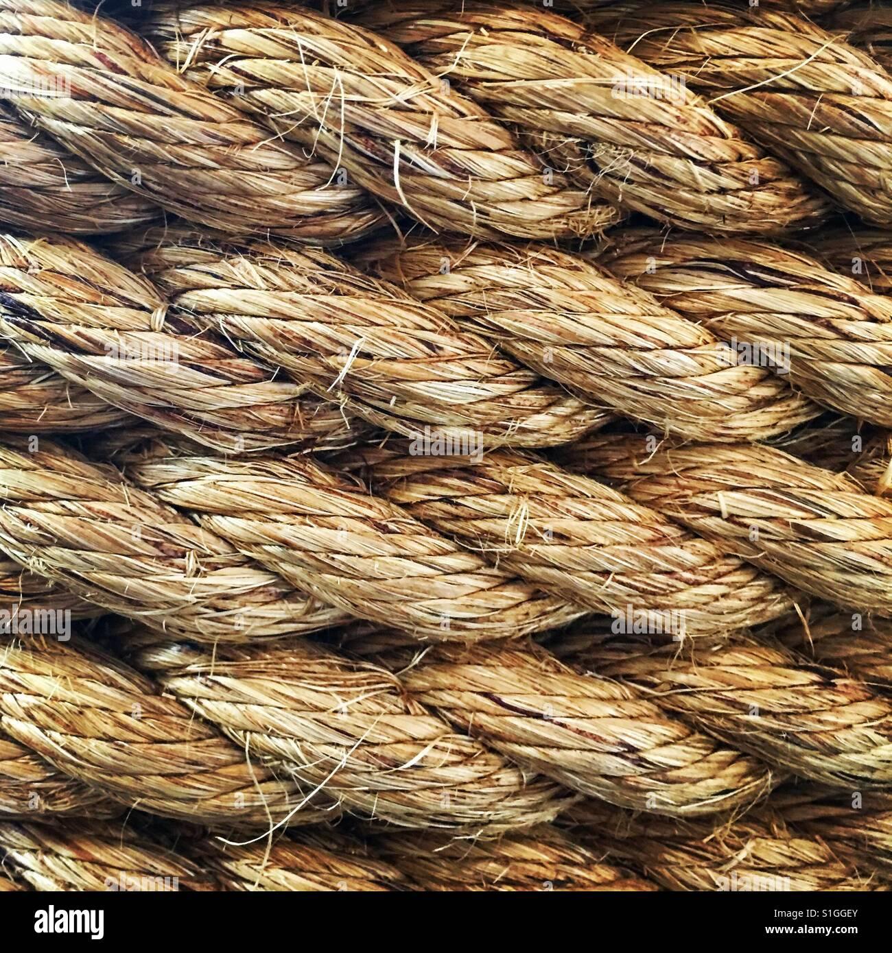 Nahaufnahme der gewickelte Seil. Stockbild