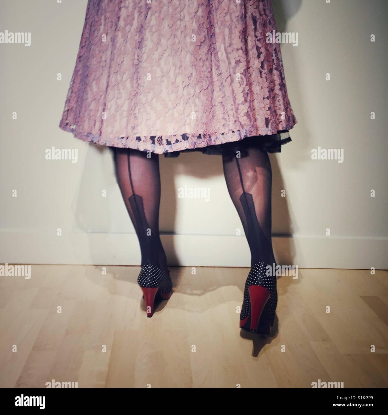 Vintage Strümpfe und Spitzenkleid Stockbild