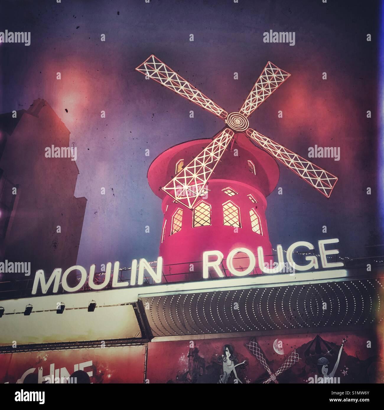 Das berühmte Moulin Rouge, Paris, Frankreich Stockbild