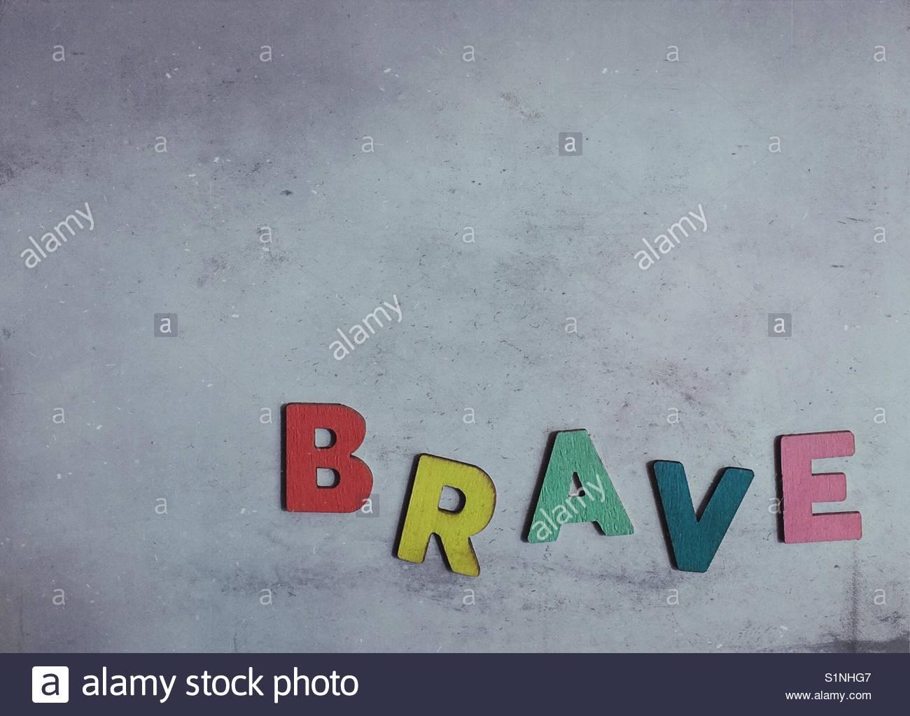 Brave (Word) Stockbild