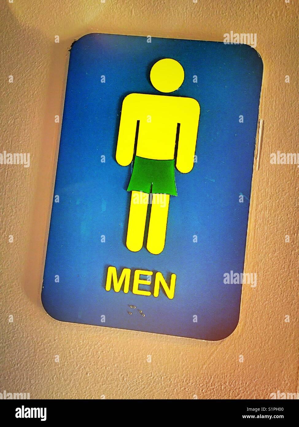 Bunte Piktogramm, öffentliche Männer bad sign, Boardwalk, Myrtle Beach, South Carolina, USA Stockbild