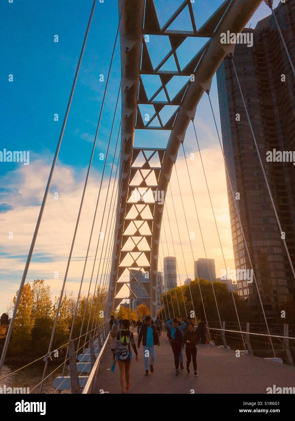 Humber Bay Bogenbrücke, Toronto, Kanada. Stockbild