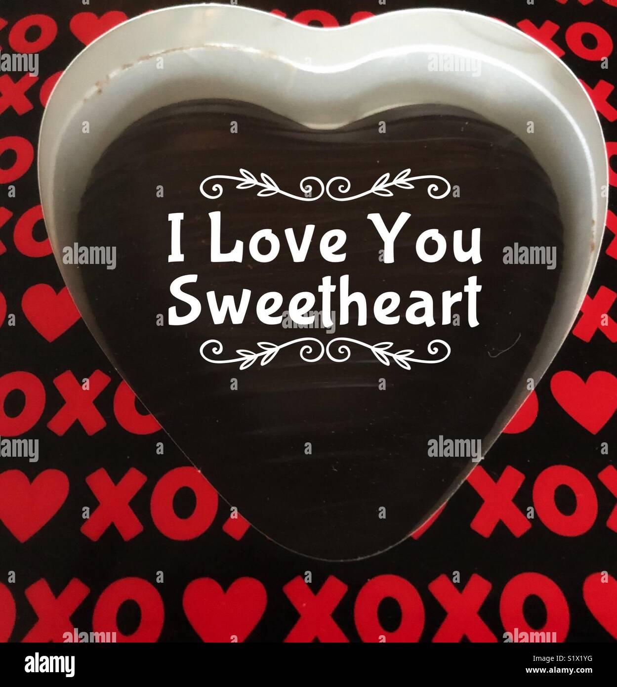 Dunkle Schokolade Herzen Mit Den Worten Ich Liebe Dich Mein