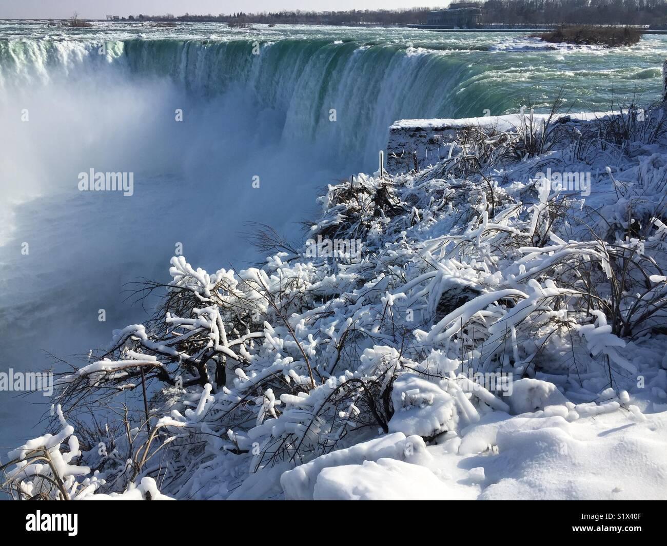Frost in Niagara Falls Stockbild