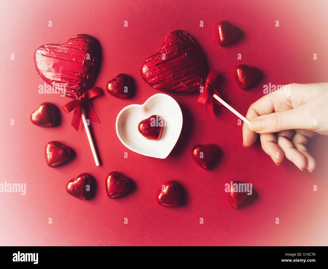 Schokolade Liebe Herzen Folie Eingewickelte