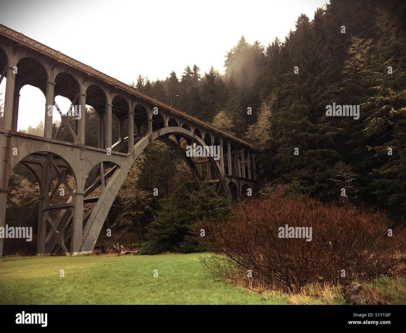 Kap Creek Bridge in Florenz, Oregon, USA. Stockbild