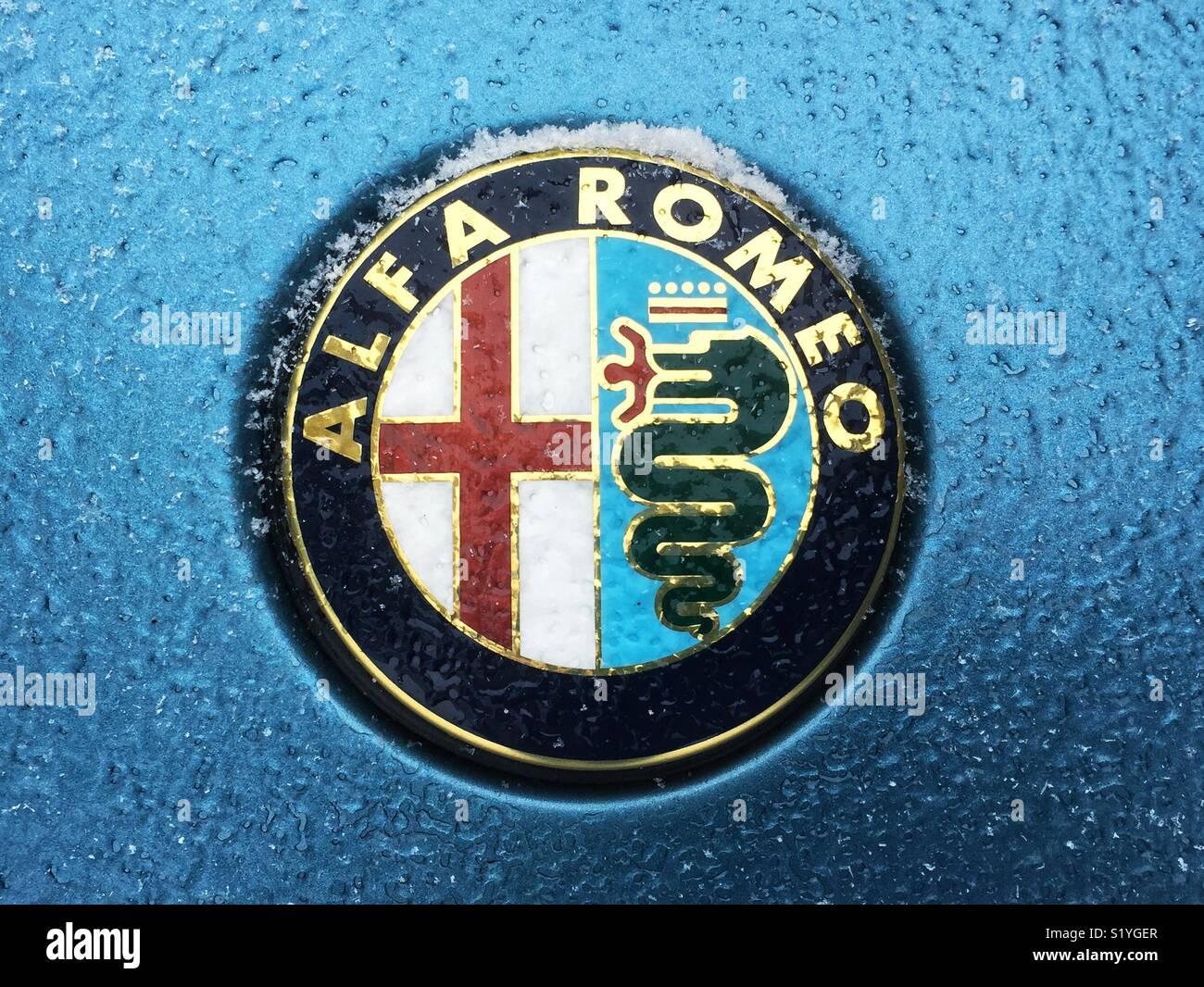 Ice-frosted Alfa Romeo Auto Abzeichen Stockbild
