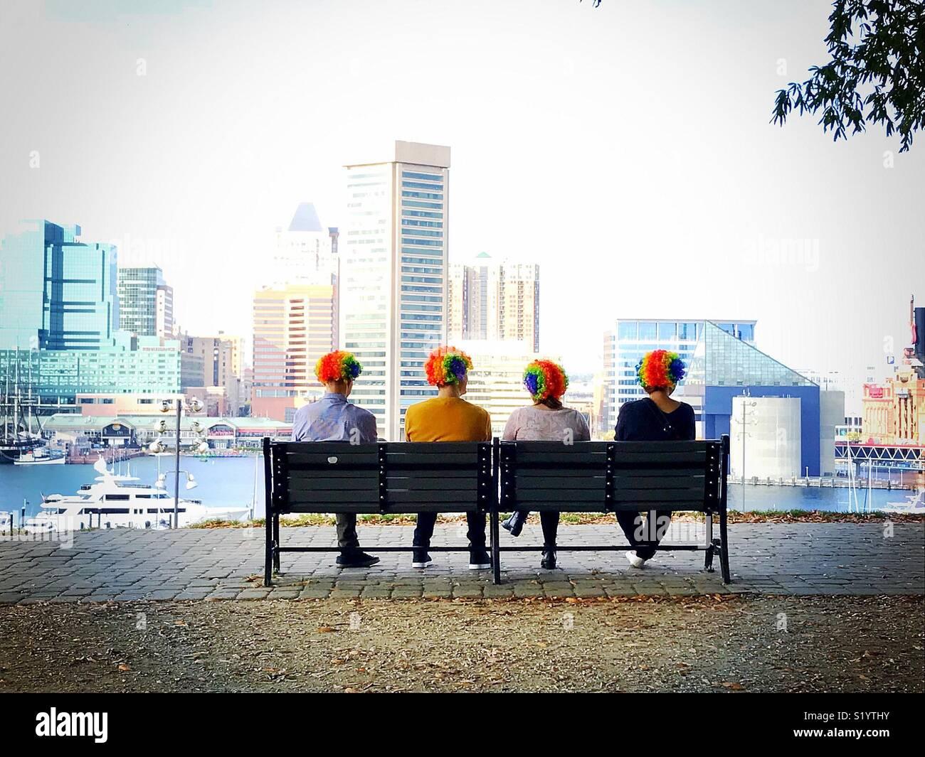 Clowns in Baltimore Stockbild