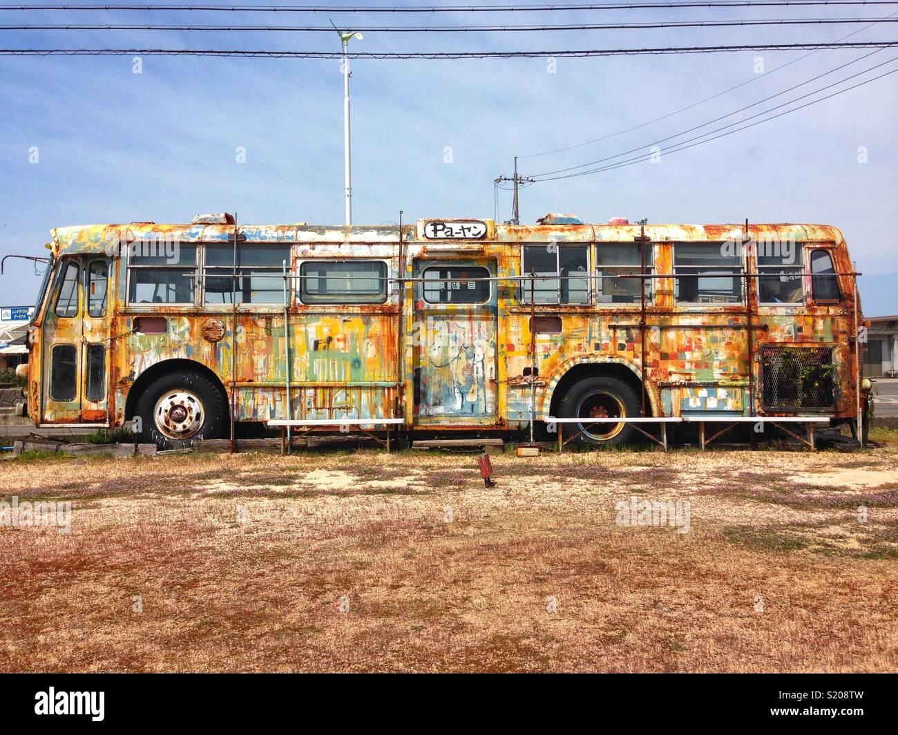 Bus, Onomichi Stockbild