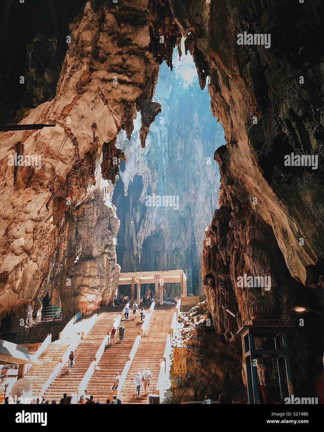 Höhlenforschung. Stockbild