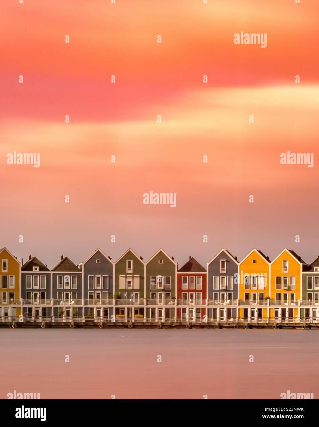 Farbige Häuser, Niederlande Stockbild