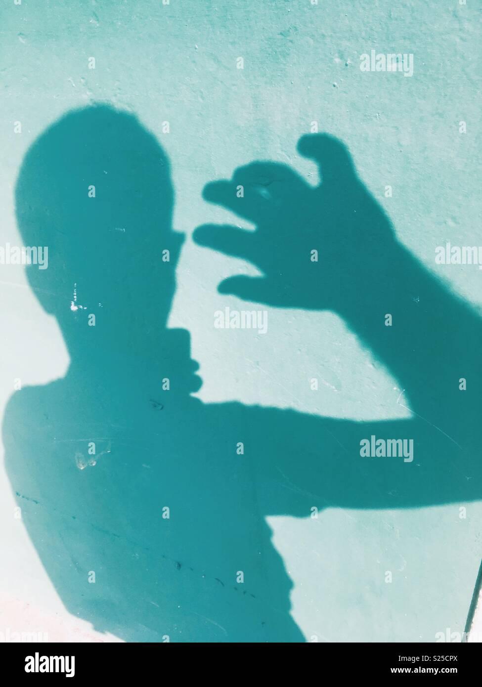 Schatten selfie Stockbild