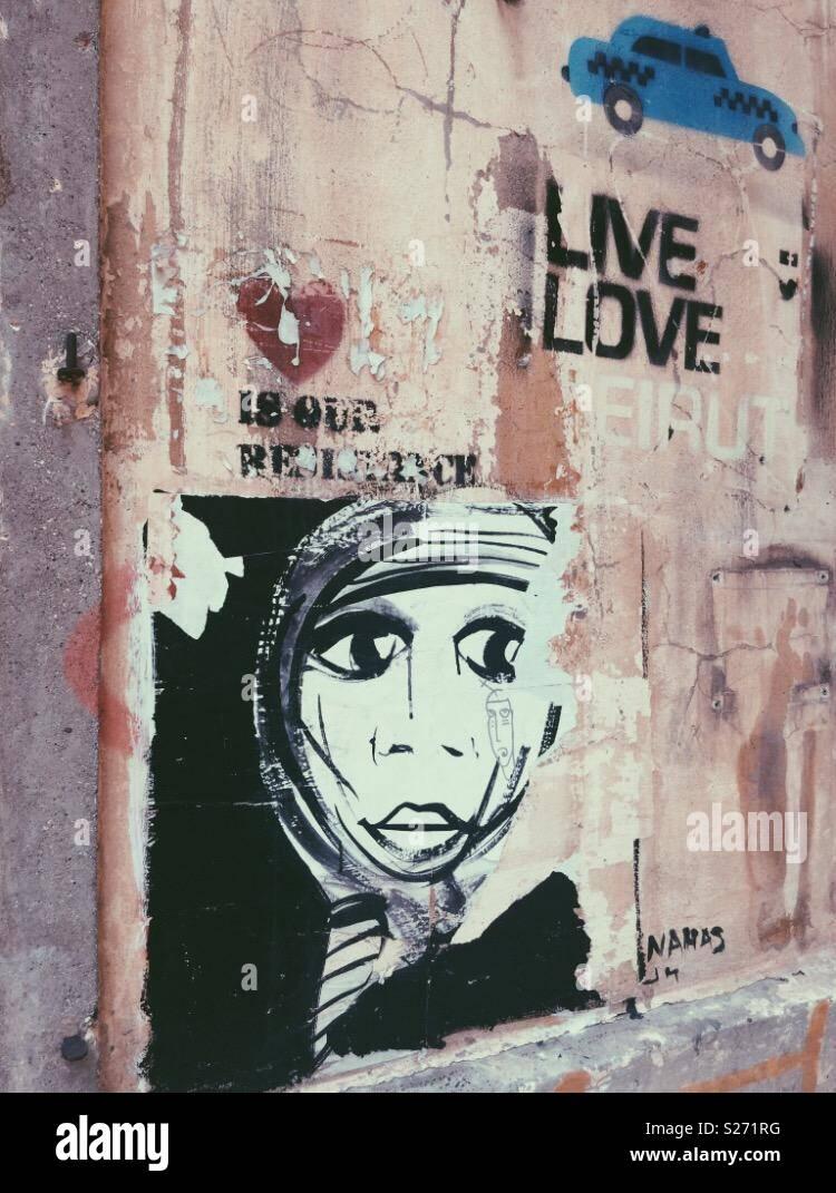 Bei einem Spaziergang in den Straßen von Beirut Stockbild