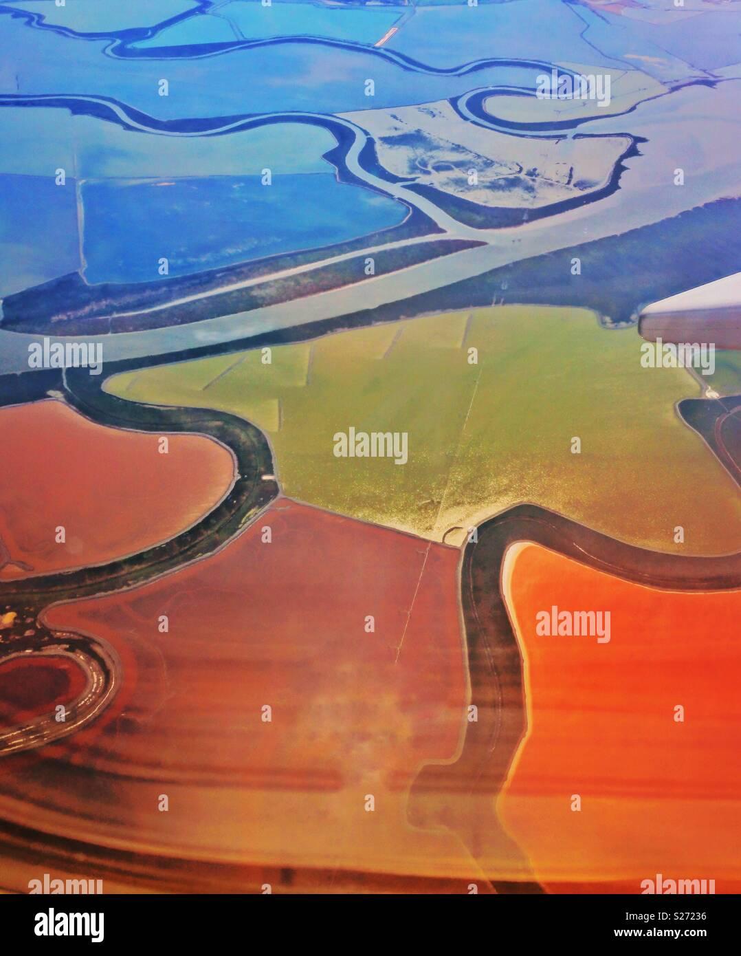 Luftaufnahme von Salz Teiche in der Nähe von San Francisco Stockbild