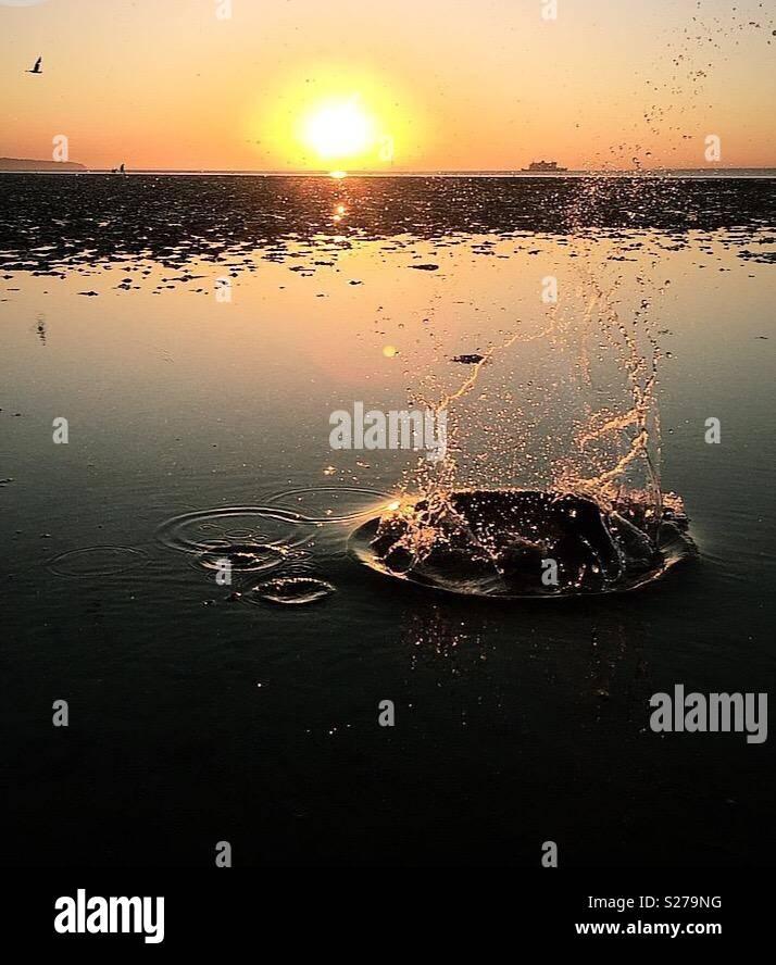 Den Sonnenuntergang beobachten Stockbild