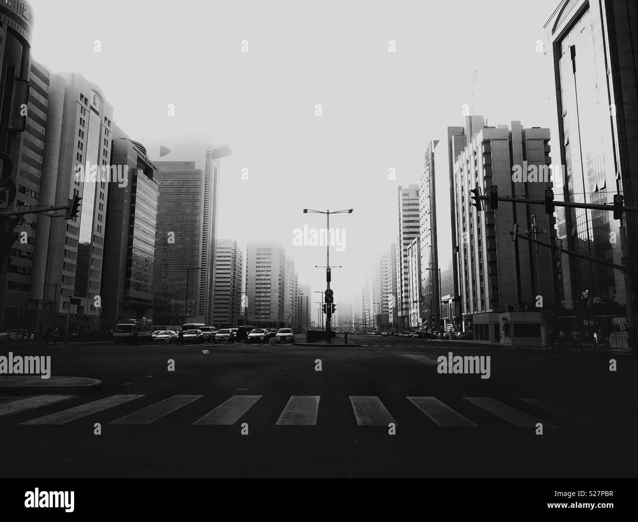 Blick auf Salam Street, Abu Dhabi Stockbild