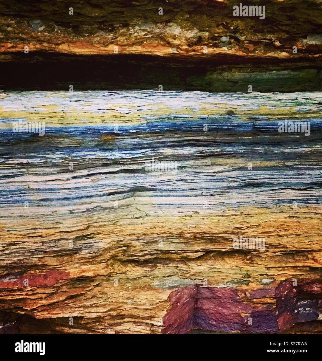 Farbige rock. East Lothian, Schottland Stockfoto