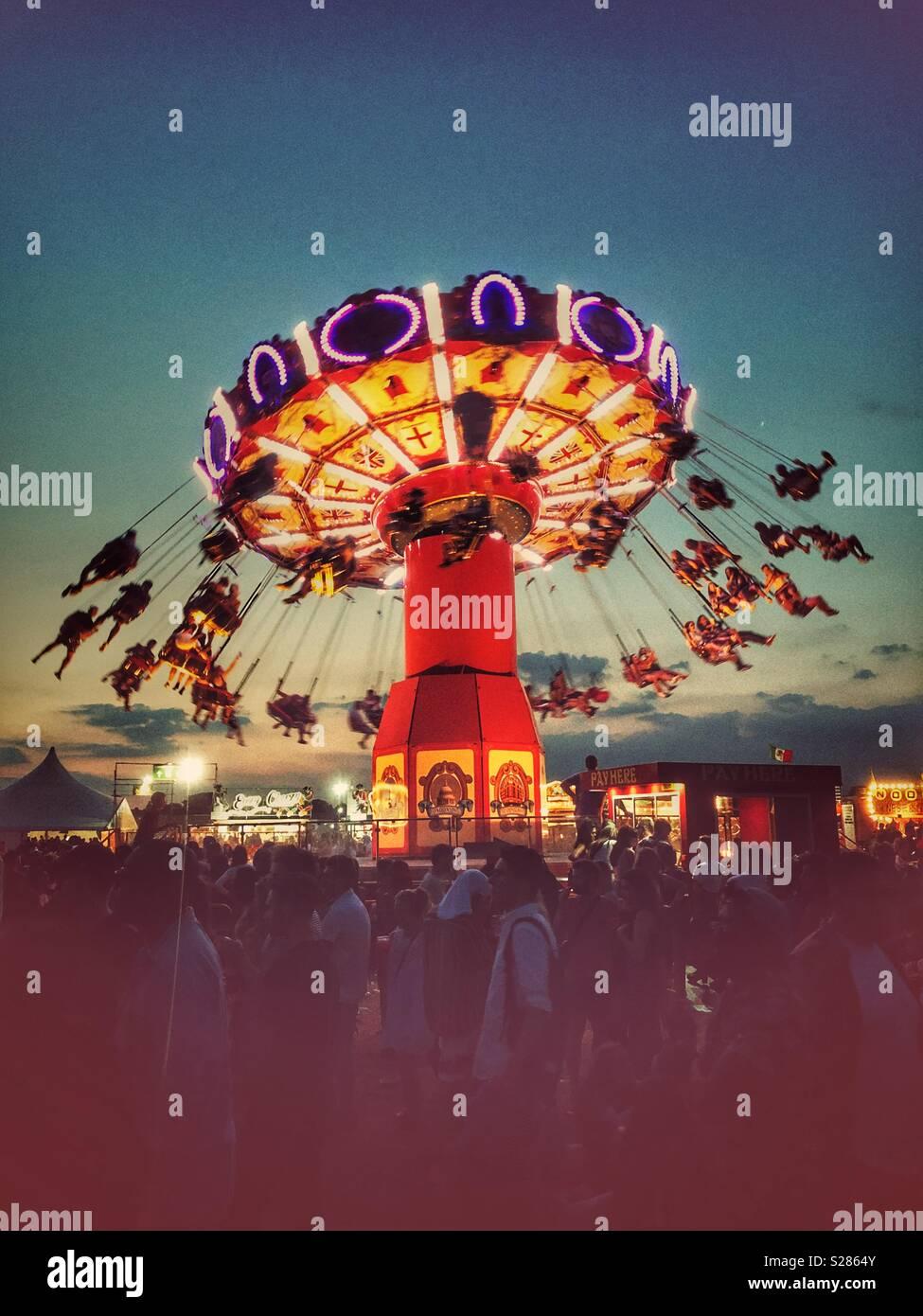 Sky Flyer an lovebox Festival, Gunnersbury Park, London Stockbild