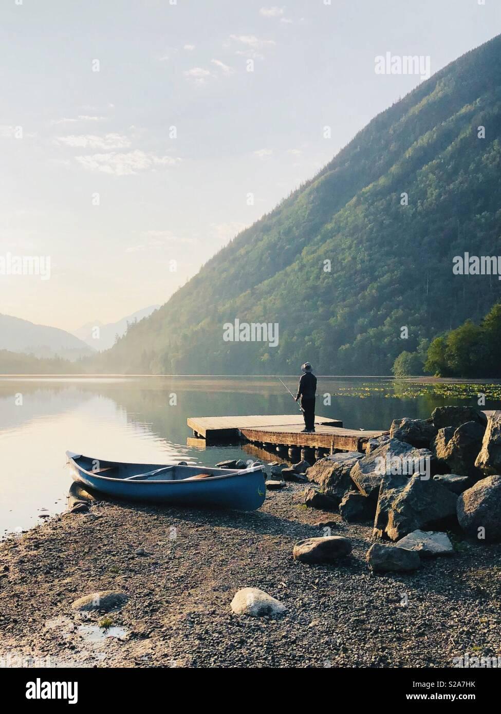 Angeln am Rolley Lake Stockbild