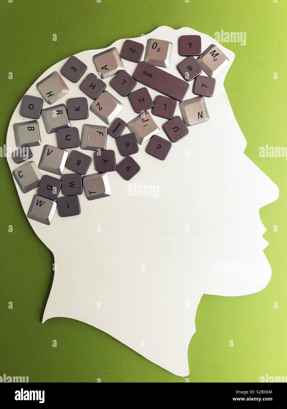 Konzeptionelle: Gehirn/Computer/Sprache Stockbild