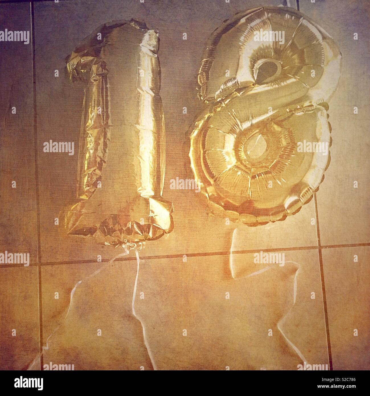 Konfetti Luftballon Set Zahl 18 Geburtstag Happy Birthday 15 Ballons