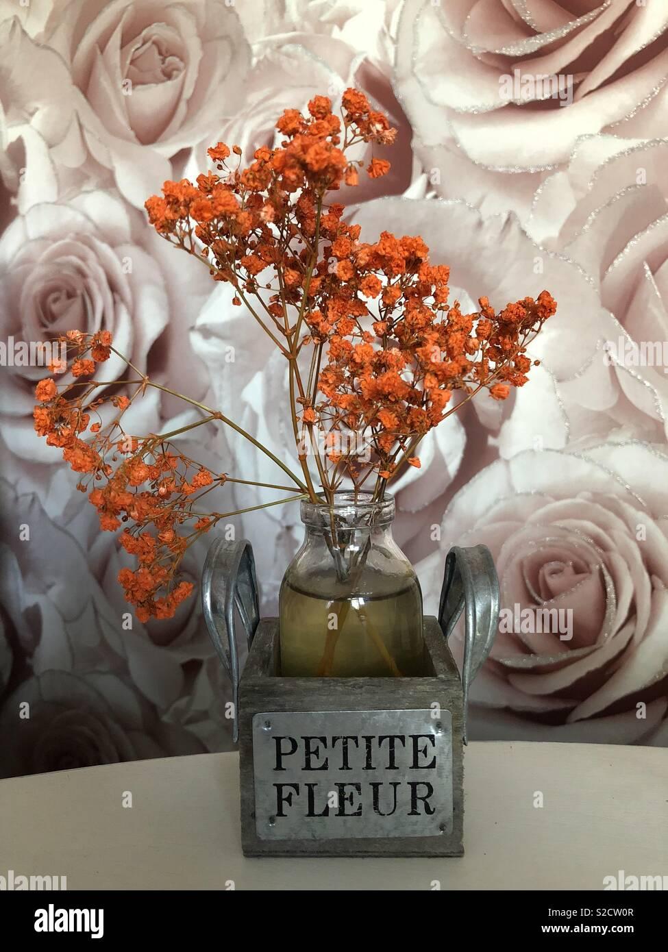 Orange farbige Blume in einer Vase, gegen eine Rose Muster Tapete ...