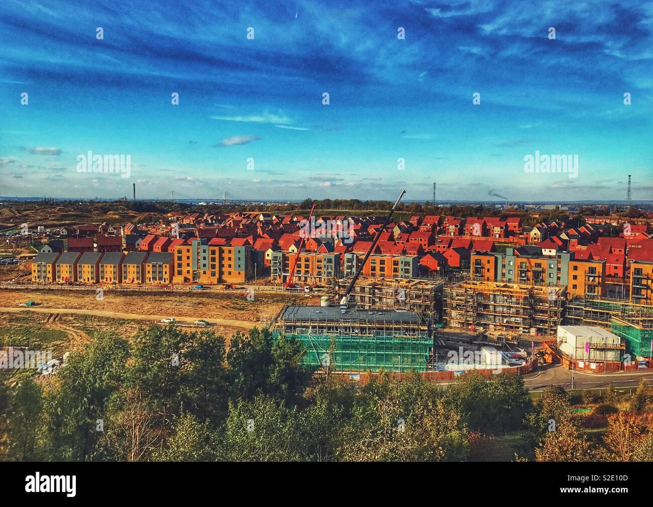 Wohnungsbau in großem Maßstab Stockbild