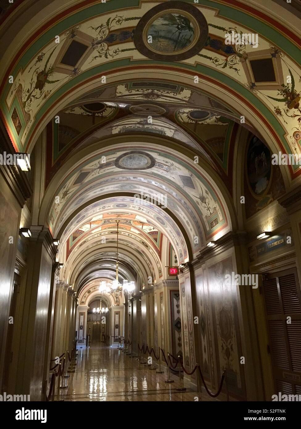 Die brumidi Korridore, der United States Capitol. Fresken ainted zwischen 1856 - mit Pflanzen, Früchte, Tiere, und Symbole der amerikanischen Kultur. Stockbild