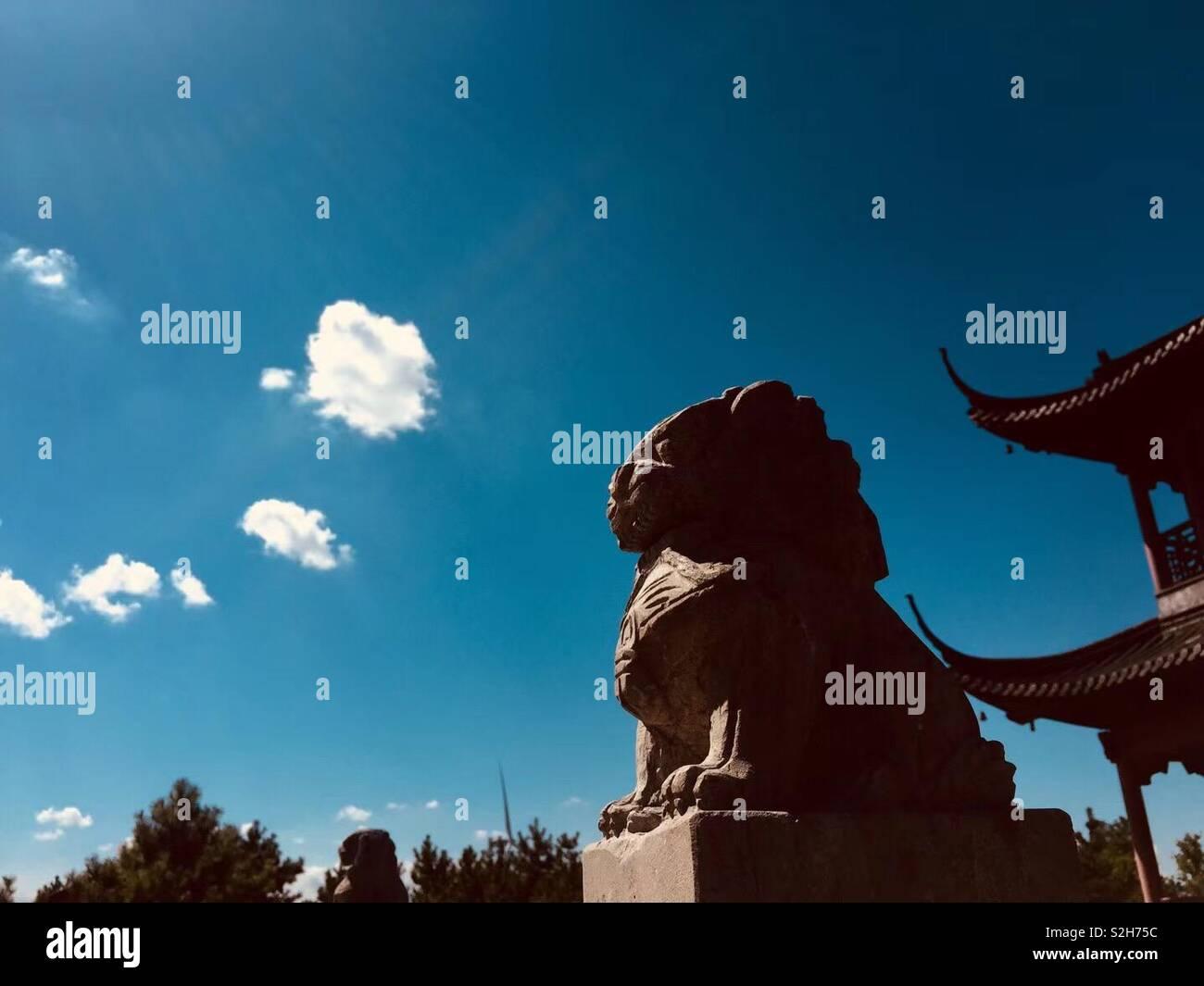 Blauen Himmel bei Rudong Stadt. Die chinesische Kultur ?? Stockbild