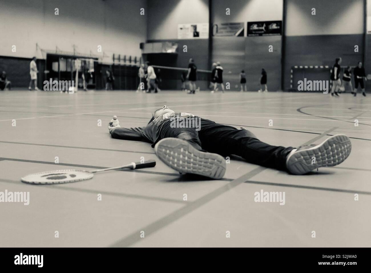 Müde von Badminton Stockbild